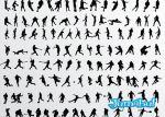 siluetas deportistas vectores - Siluetas de Personas Haciendo Deportes