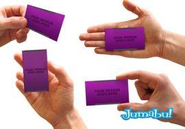 tarjetas personales manos hombres mockup - Mock Up de Tarjetas Comerciales en PSD - Photoshop