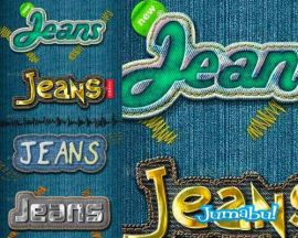 tipografias efecto jeans - Acción Photoshop Efecto Jeans
