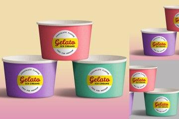 vasito helados mockups colores - Vasitos de Helado para Poner tu Marca con Photoshop