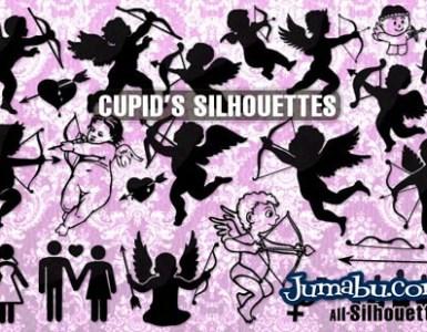 vector cupid - Siluetas de Cupidos en Vectores