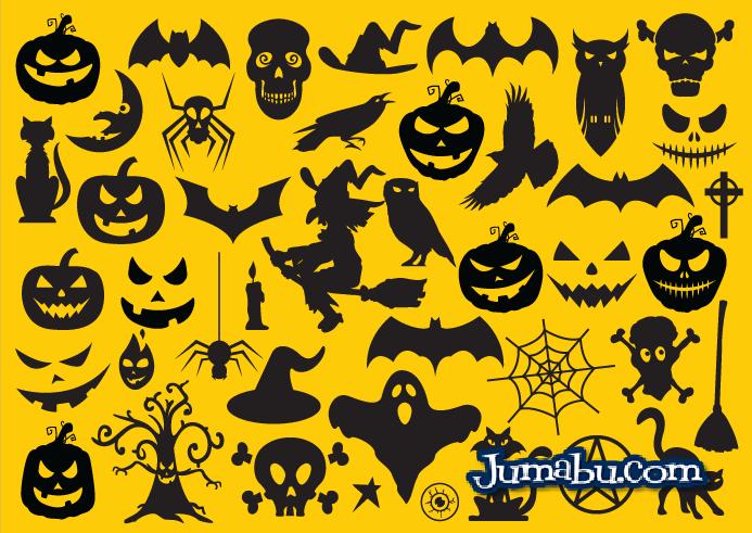 vectores halloween free - Iconos Planos Vectoriales para Halloween