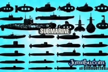 vectores submarinos - Siluetas de Submarinos Vectorizados