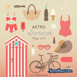 verano vintage vectores gratis - Vectores Gratuitos de Verano Retro