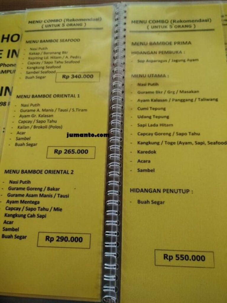 paket menu kampoeng bamboe lampung