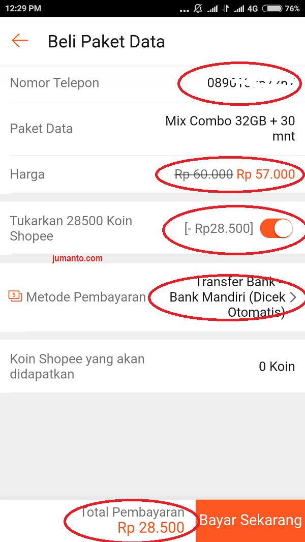 cara beli paket data online murah via shopee