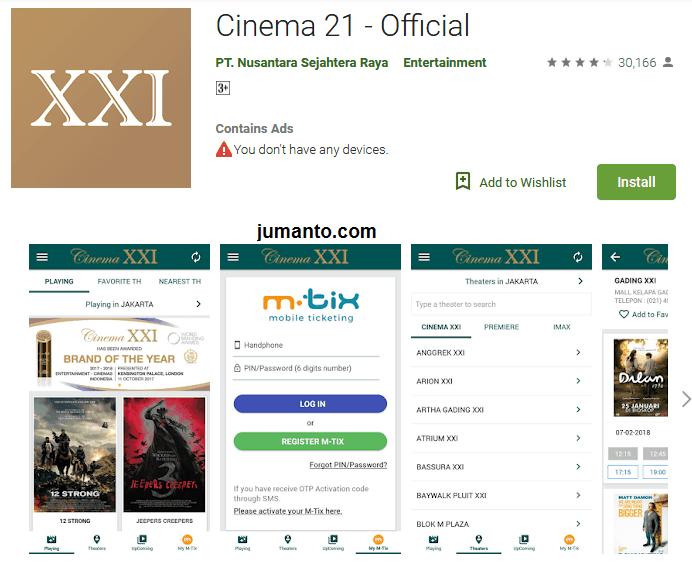 Cinema 21 (XXI), Aplikasi Booking Tiket Bioskop Online Resmi