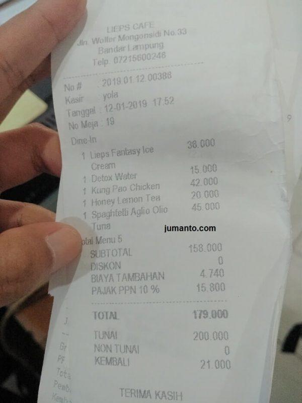 harga menu di lieps cafe bandar lampung