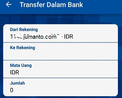 masukkan nomor rekening dan nilai transfer