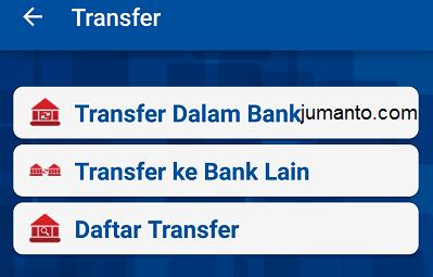pilih bank tujuan transfer di bri mobile