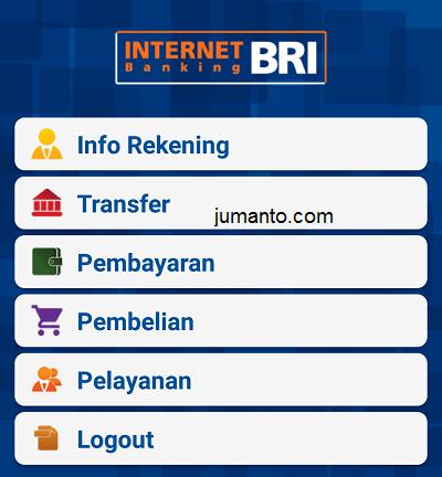 pilih menu transfer dari bri mobile