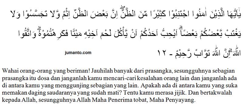 bunyi surat al hujurat ayat 12 dan terjemahannya