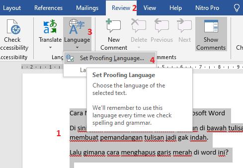 cara menghilangkan tanda merah di word
