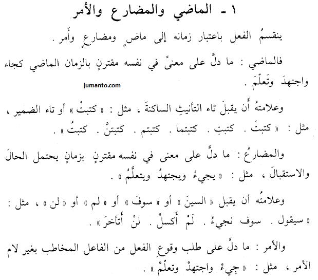 jenis-jenis kalimah fi'il berdasarkan waktunya, madhi mudhari' amr