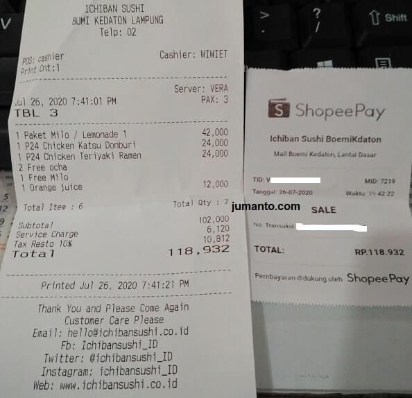 Makan Di Ichiban Sushi Lampung Bayar Pakai Shopeepay