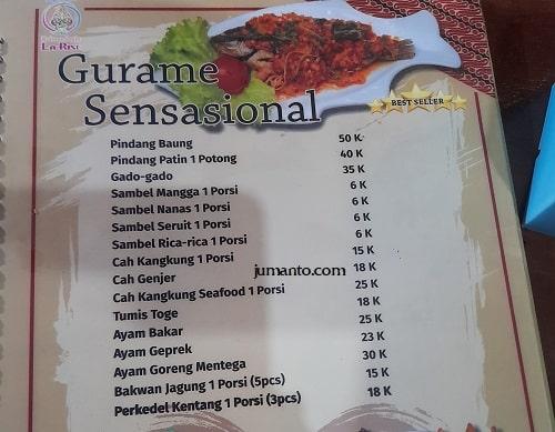 daftar harga dan menu larise cafe lampung 2