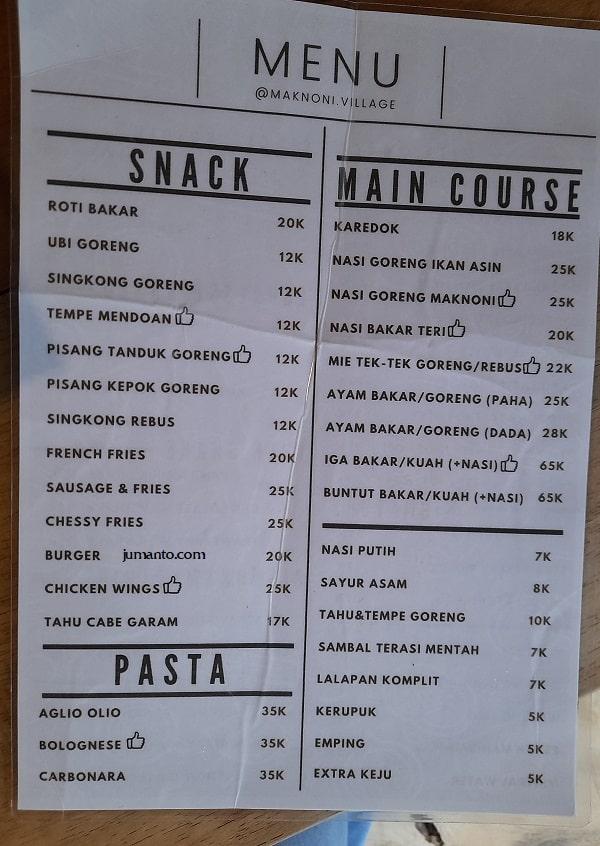 daftar menu dan harga makanan maknoni cafe bandar lampung-min