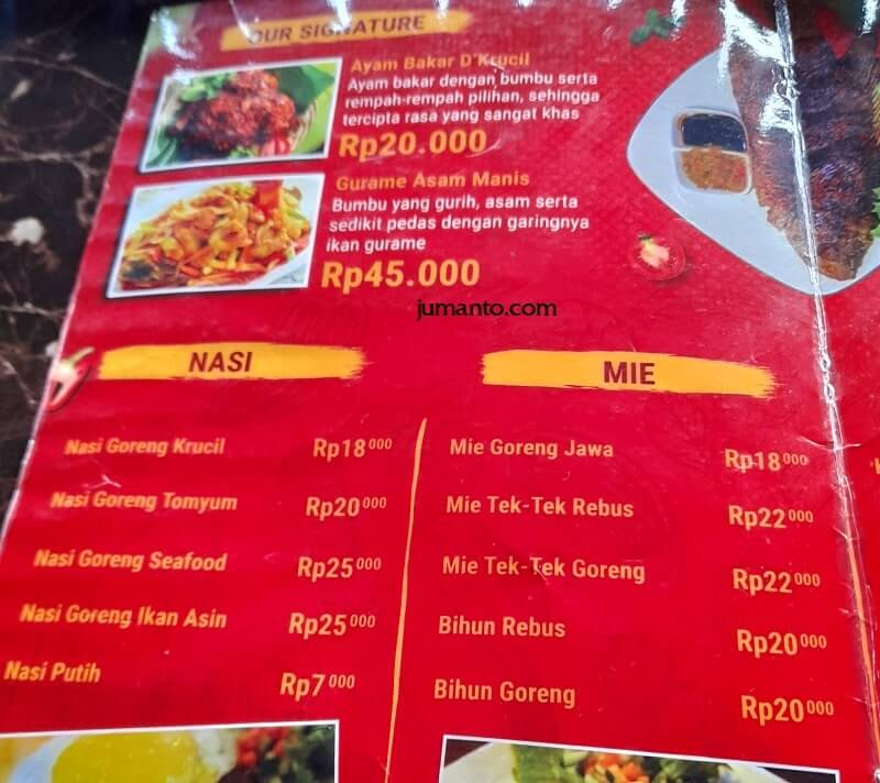 Daftar Menu dan Harga D'Krucil Cafe & Resto Lampung (4)