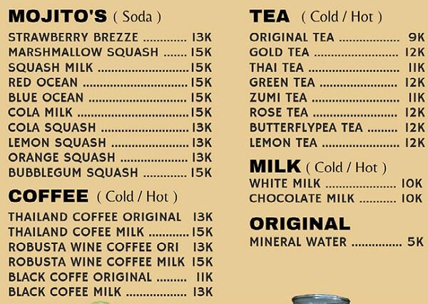 menu dan harga minuman diamond cafe lampung barat