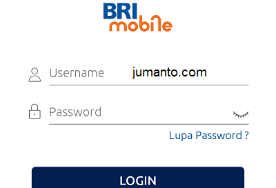 halaman login aplikasi brimo pakai username dan password