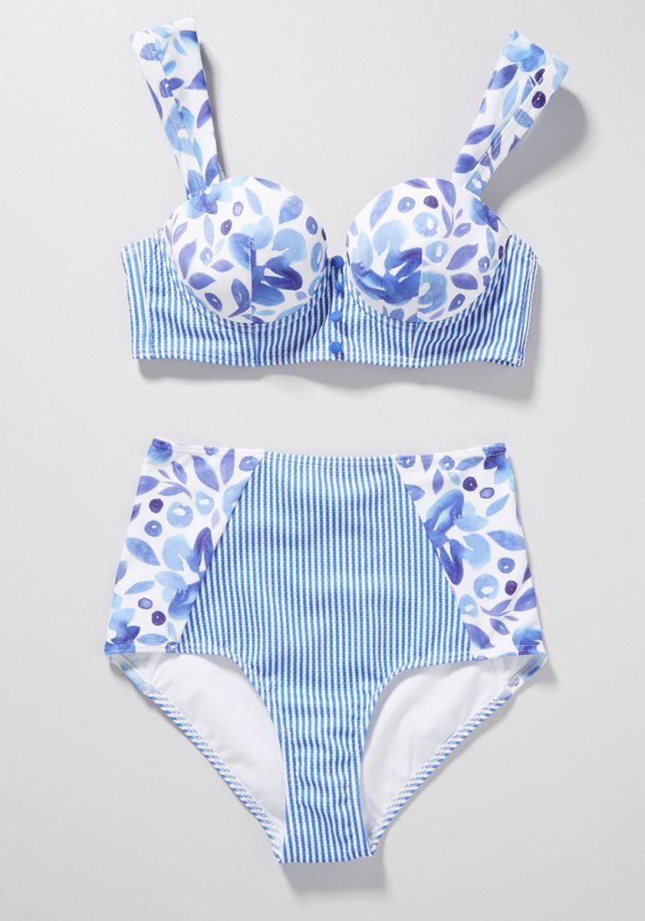 118443c650fa4 Blue Bikini Retro Plus Size Swimwear, Plus Size 2 Piece Swimwear for Women,  Cute