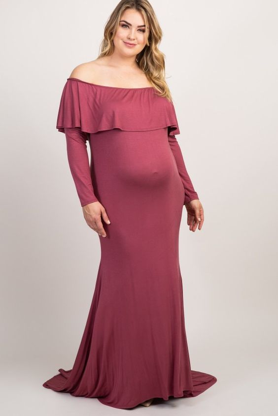 df017f92b0 Dark Mauve Off Shoulder Ruffle Maternity Plus Photoshoot Gown/Dress: A solid  hued maternity