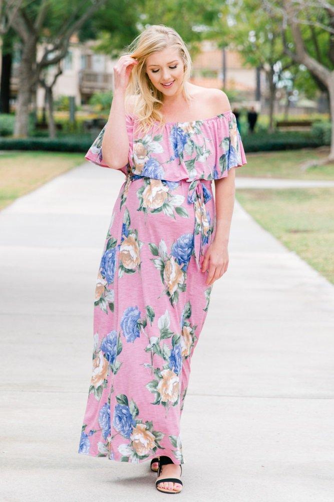 864c24120fb Pink Floral Off Shoulder Sash Tie Plus Maternity Maxi Dress  Floral printed  off shoulder plus