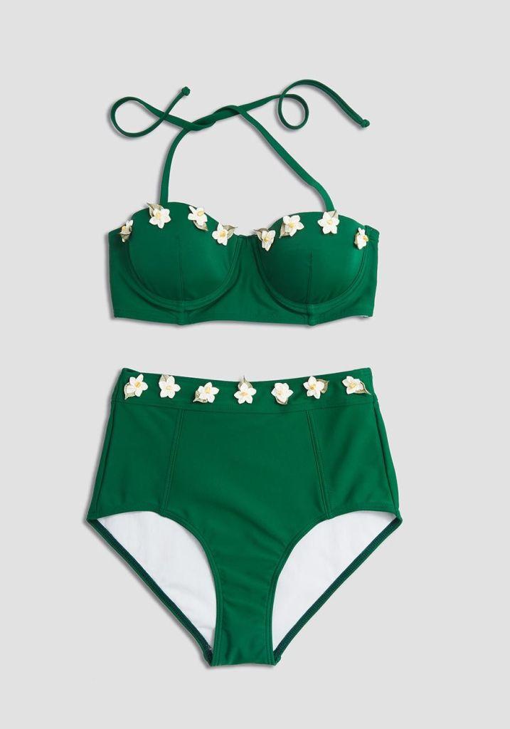 d7bd58e0a3f5f Plus Size Retro Green Bustier Bikini, Plus Size High Waist Bikini Bottoms,  Retro 2