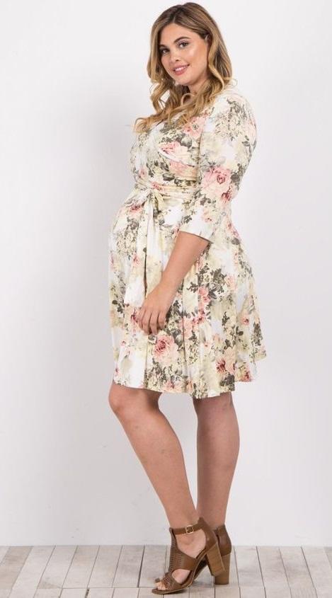 23c68722b Ivory Floral Sash Tie Plus Size Maternity Baby Shower Dresses   A floral  print, plus