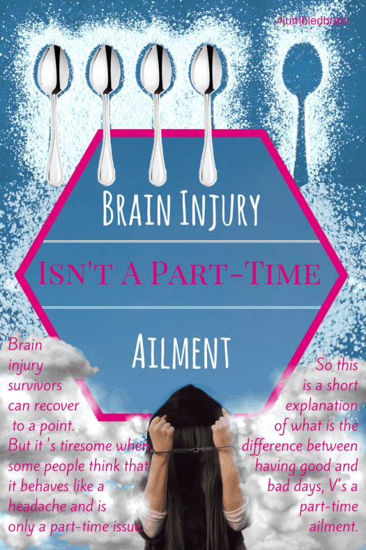 Brain injury survivors can recover to a point. But it 's tiresome when some people think that it behaves like a headache and is only a part-time issue. So this is a short explanation of what is the difference between having good and bad days, V's a part-time ailment.