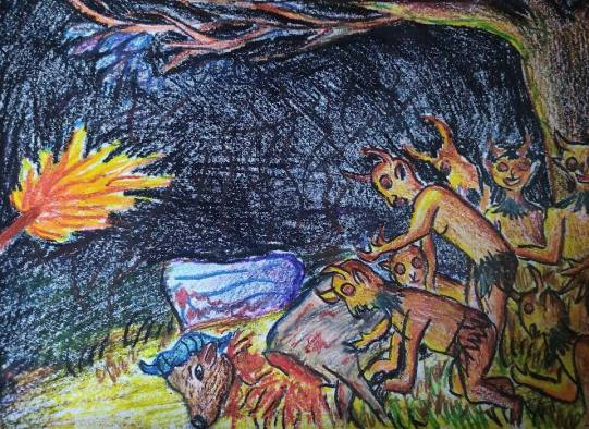 গলা কাটা মহিষের রক্ত পান করছে ১৪ দেবতা ।