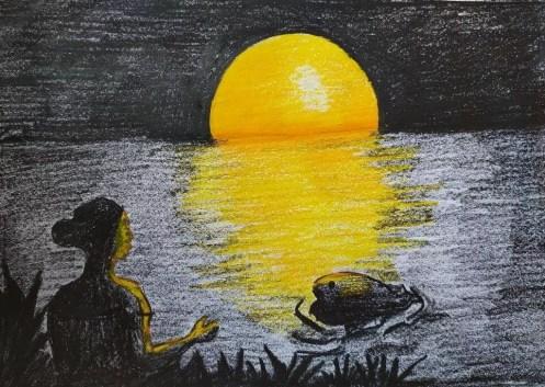 হেমবালা গোমতি নদীর তীরে বোয়াল মাছের সাথে দেখা করতে গেলো।