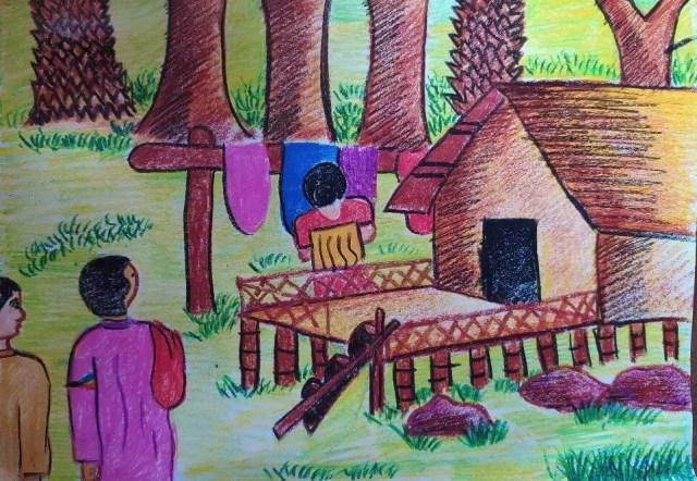 গোয়ালার নাতনি বাঁশের মাচায় কাপড় বোনার সুতাগুলি গুছাচ্ছিল।