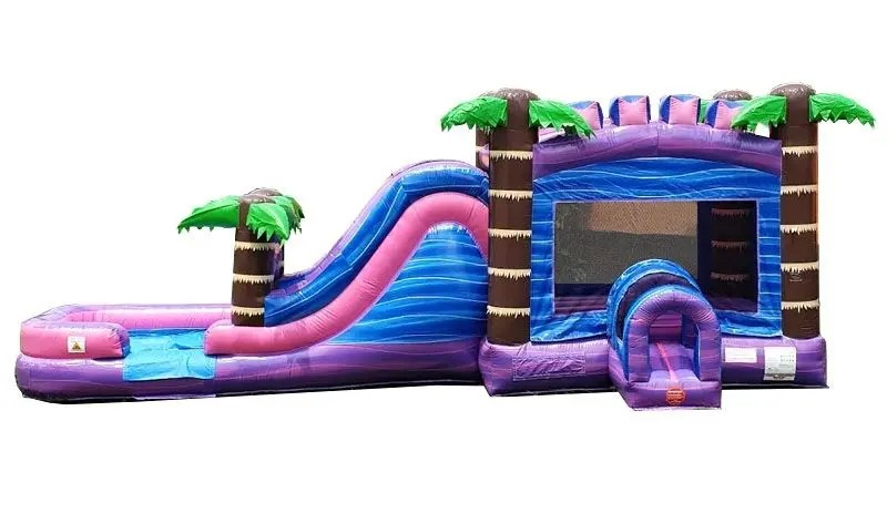 Purple Tropical Wet/Dry Combo Slide Bouncer