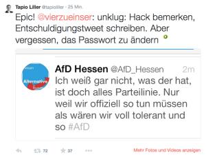 """Hier sieht man einen Screenshot eines Tweets der AfD Hessen unter """"fremder Kontrolle"""", der Inhalt leicht gekürzt: """"Ist doch alles Parteilinie. Bloss, weil wir immer so tun müssen, als wären wir voll tolerant""""."""