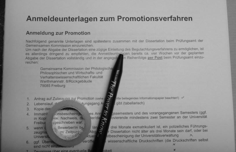 Hier ist das Anmeldeformular zu meinem Promotionsverfahren zu sehen.