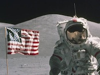 Man on The Moon with American Flag in Background