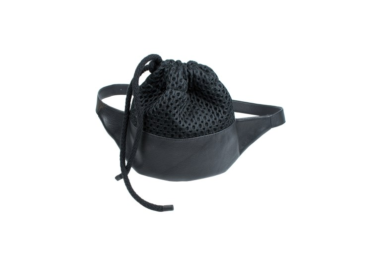 Leather and fabric detail belt bag by JUNE9