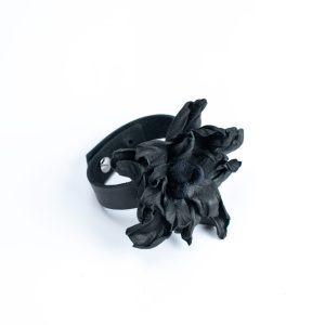 Leather flower bangle by JUNE9