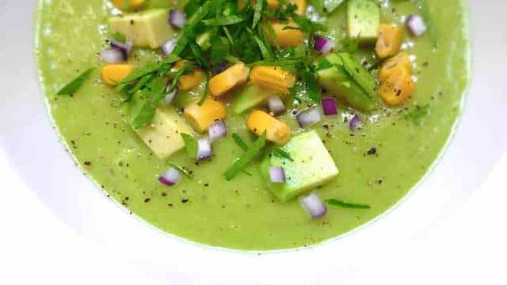 My chilled cilantro, sweet corn and avocado soup: call it a green gazpacho or a cold appetizer soup... Very easy to make in advance!