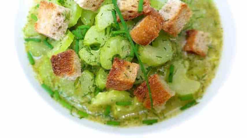 I needed a celery stalk to make fresh chicken stock. I made this celery soup recipe a couple of hours later! It's light and filling: a perfect lunch soup!