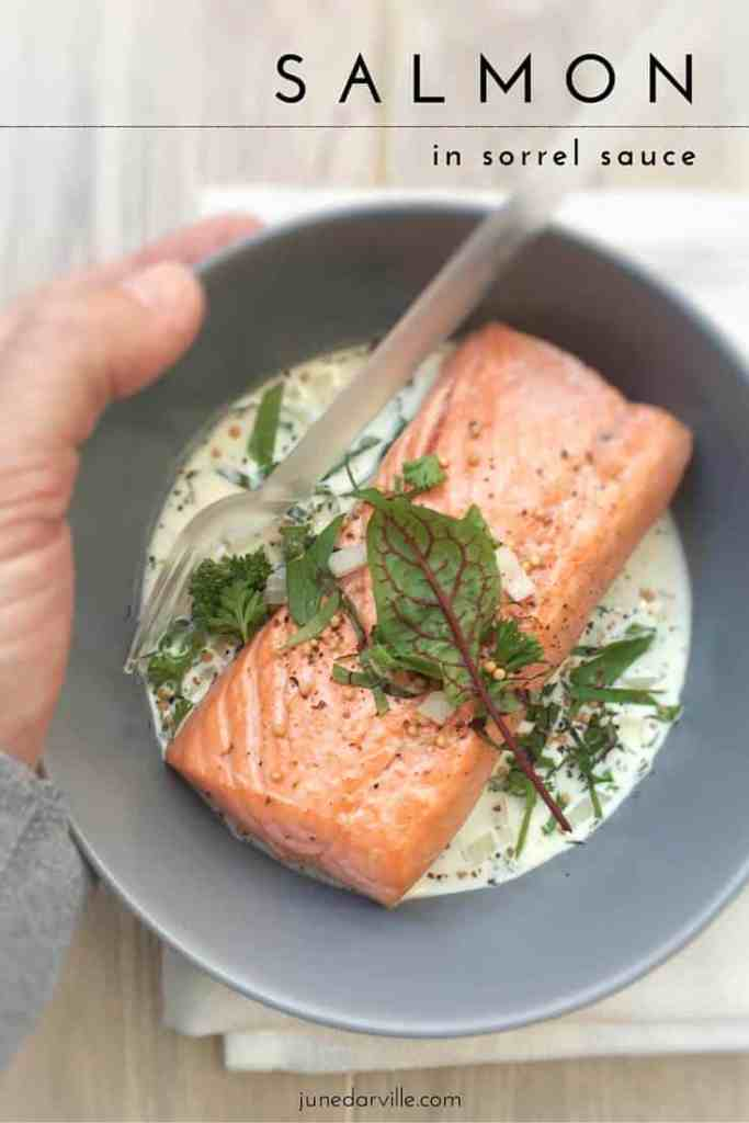 Pan fried salmon steaks in a creamy fresh sorrel, mustard and white wine sauce... this sorrel recipe is an old family classic!
