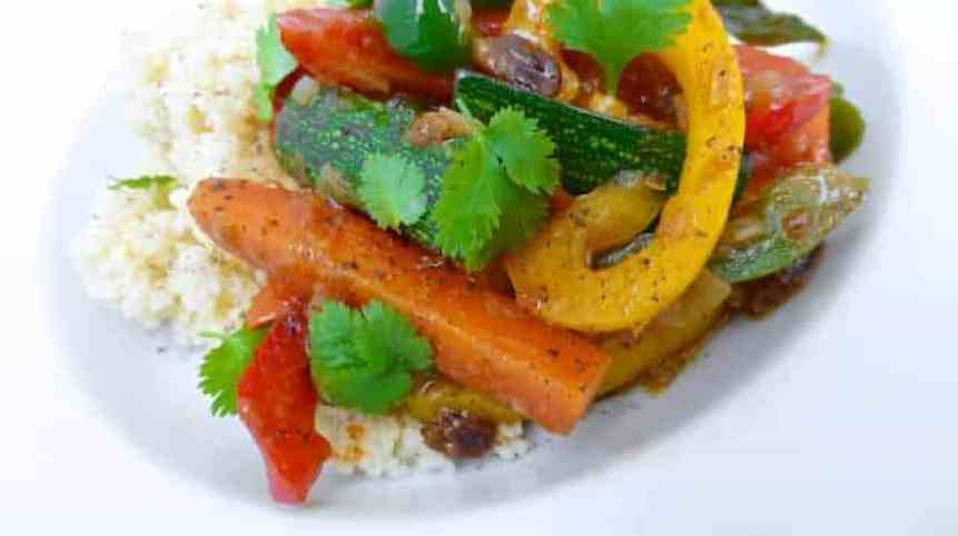 Vegetable couscous, a Moroccan flavored mix of crunchy colorful vegetables and couscous! Great with a roasted leg of lamb!