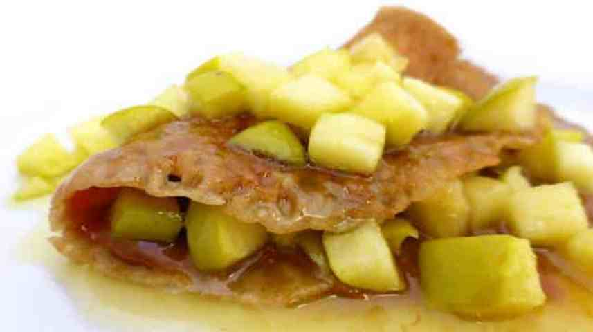 My sweet buckwheat pancake recipe with apples, calvados and dulce de leche.. You will adore this creamy pancake treat so much!