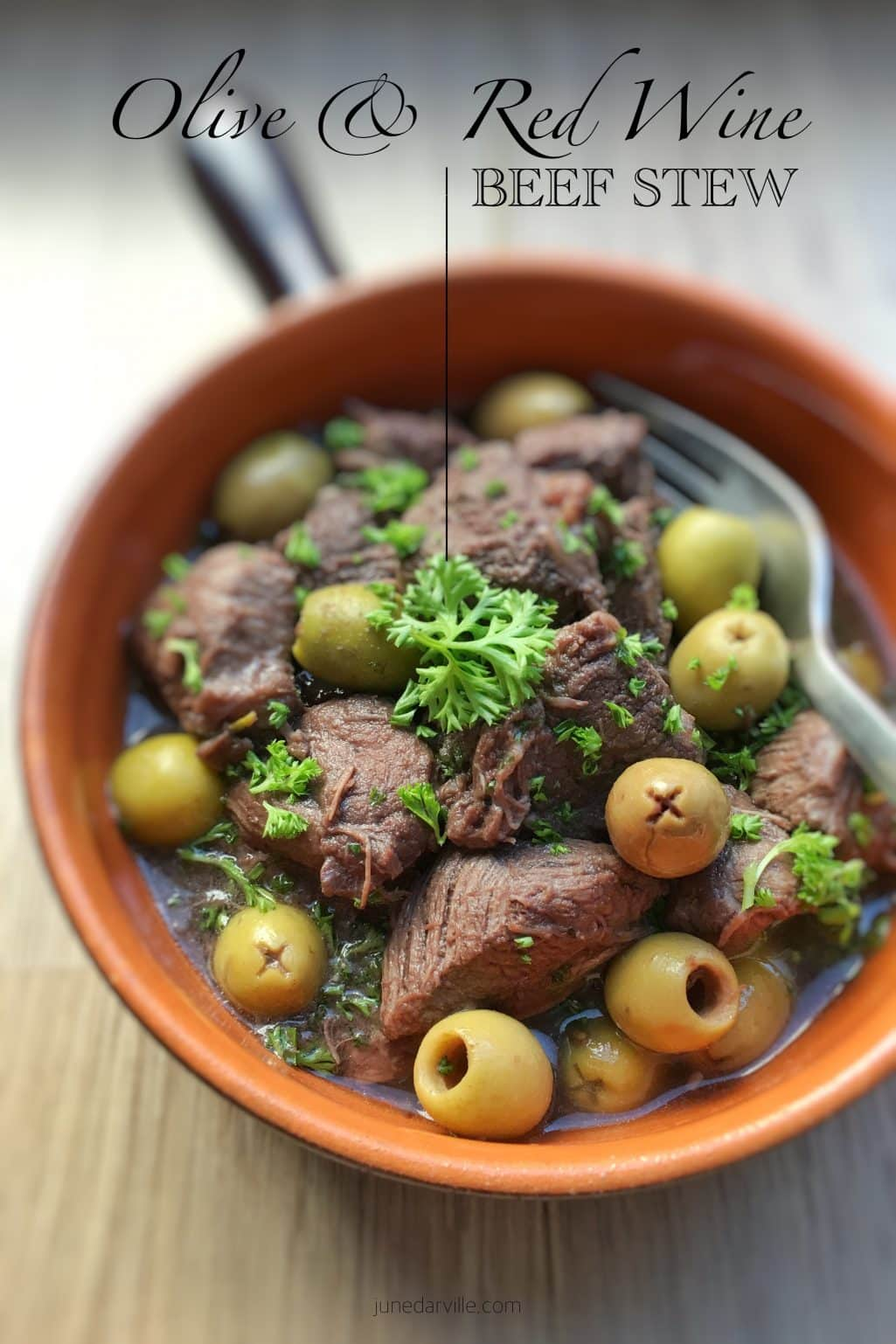 "This recipe for beef stew with red wine and olives is also known in France under the very elegant name of ""daube provençale""!"