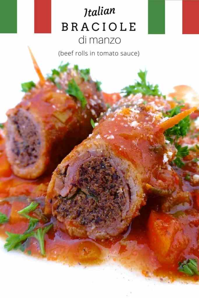 Braciole di manzo, juicy Italian stuffed beef rolls with olives, eggs, ham and basil! Braised in a chunky tomato sauce...