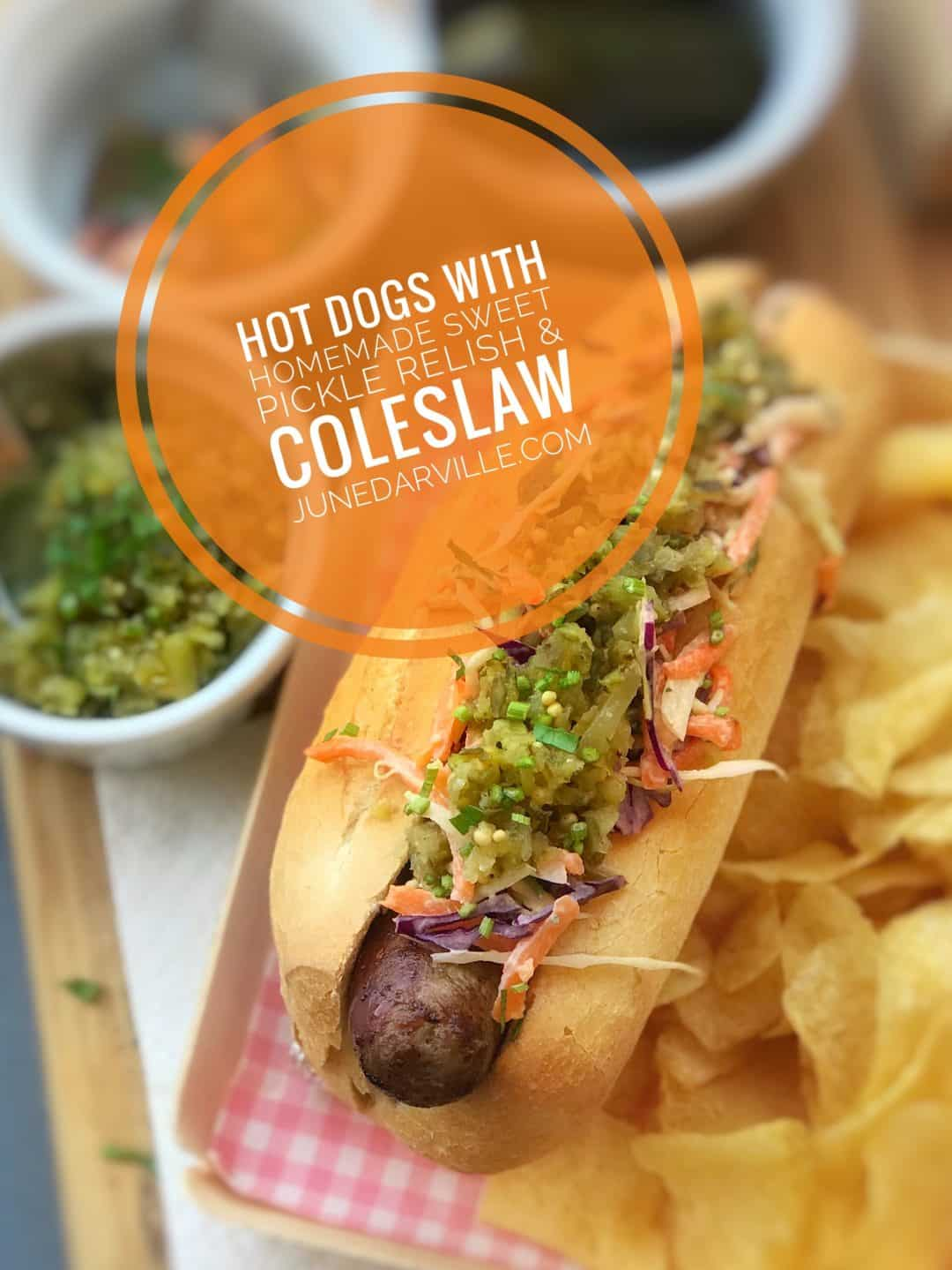 My own classic hot dog recipe with sweet and salty caramelized onions, creamy coleslaw and a homemade 5-minute sweet pickle relish!