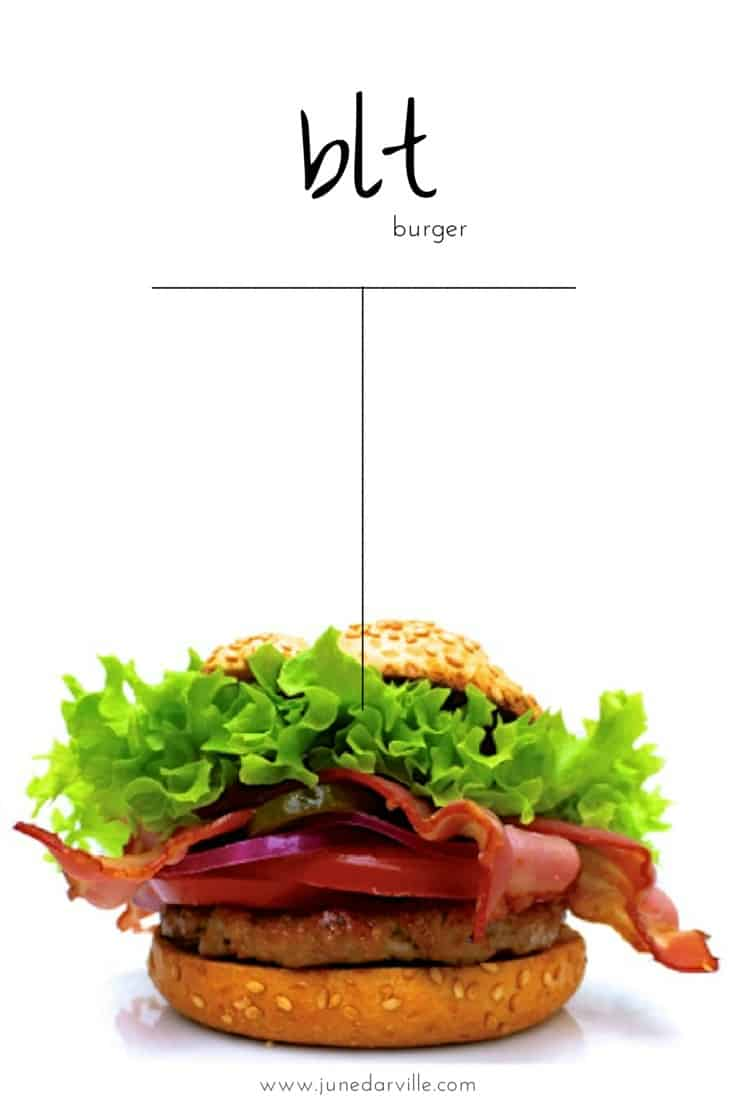 Here's my classic BLT burger: homemade beef patties in a crunchy toasted bun with crispy baked bacon, fresh tomatoes and lettuce...