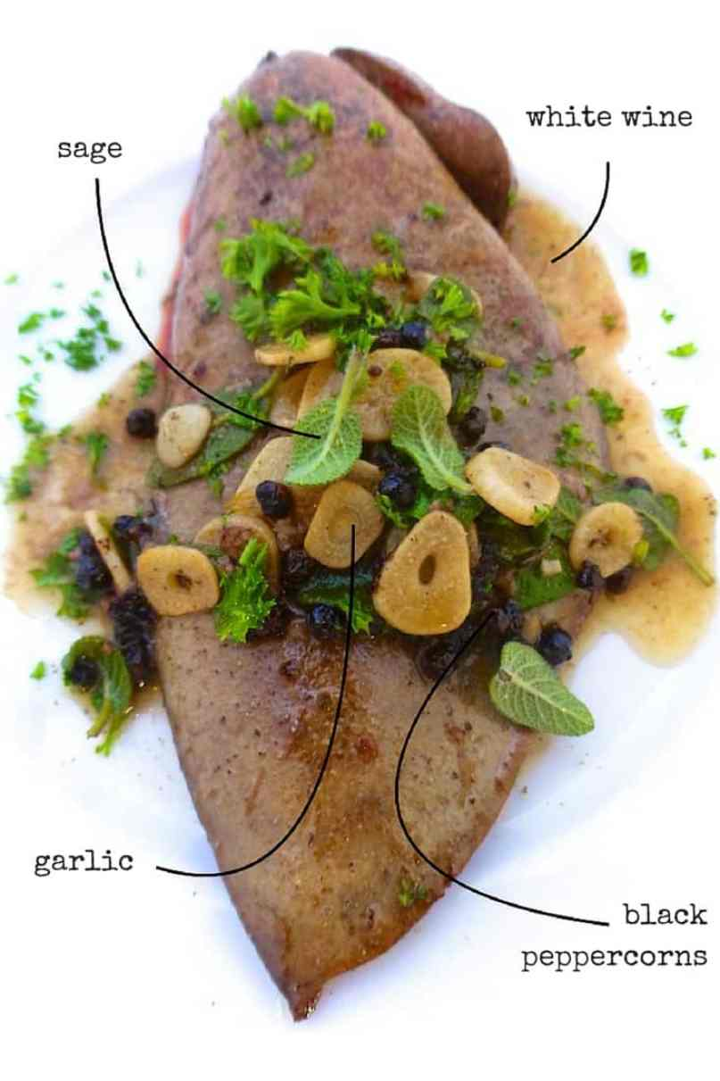 Here is one of my favorite liver recipes: pan fried baked liver with dry white wine, fresh sage and garlic! Love liver? Try this one out!