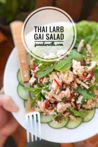 Classic Thai larb gai chicken salad: spicy cooked chicken mince packed with fresh flavors such as lime juice, fish sauce, fresh chili and cilantro.